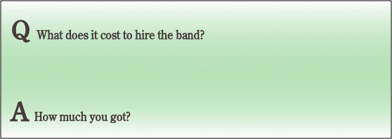 Q What does it cost to hire the band?